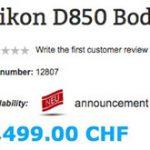 ニコンD850の価格が各種ウェブストアに掲載されている模様。3,600ドルが濃厚!?