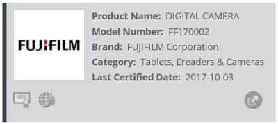 富士フイルムの未発表機コードネーム「FF170002」が海外の認証機関に登録された模様。