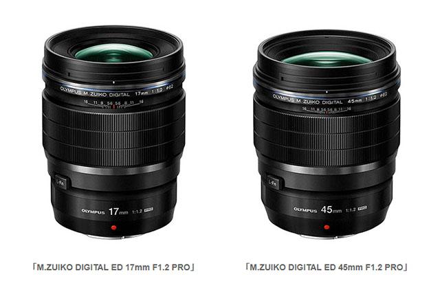 「M.ZUIKO DIGITAL ED 17mm F1.2 PRO」「M.ZUIKO DIGITAL ED 45mm F1.2 PRO」