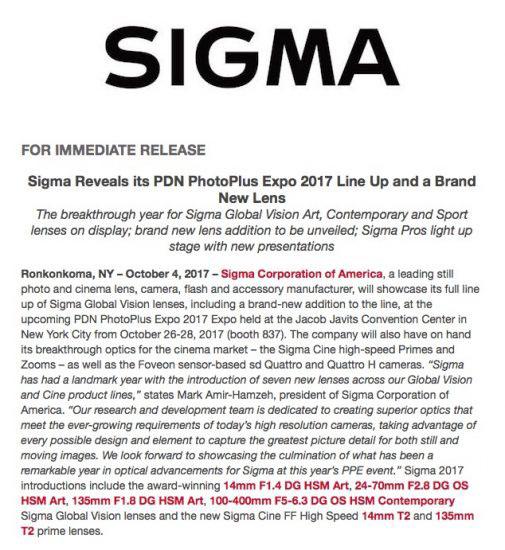 シグマがPhotoPlusで新しいレンズを発表する模様。新しい70-200mm F2.8が登場する!?