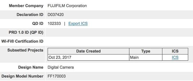 富士フイルムが新しいBluetooth搭載カメラを海外認証機関に登録した模様。X-T100?X80?X-T2S?X-A5?