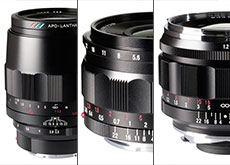 「MACRO APO-LANTHAR 110mm F2.5 E-mount」「COLOR-SKOPAR 21mmF3.5 Aspherical E-mount」「NOKTON 50mm F1.2 Aspherical VM」