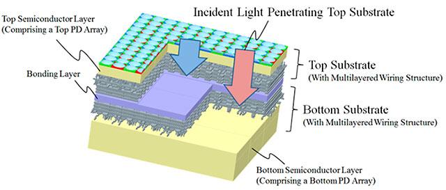 オリンパスが多層フォトダイオード構造のイメージセンサーを開発している模様。