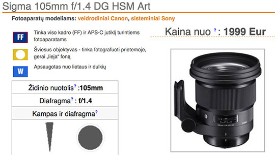 SIGMA 105mm F1.4 DG HSM   Artの価格は、2400ドルぐらい!?AF-S NIKKOR 105mm f/1.4E EDよりも高額になる!?