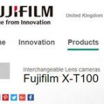 海外の富士フイルムのサイトで、X-T100がフライング掲載された模様。