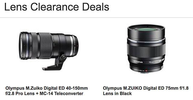イギリスの販売店が「M.ZUIKO DIGITAL ED 40-150mm F2.8 PRO」と「M.ZUIKO DIGITAL ED 75mm F1.8」の在庫品一掃セールを行っている模様。
