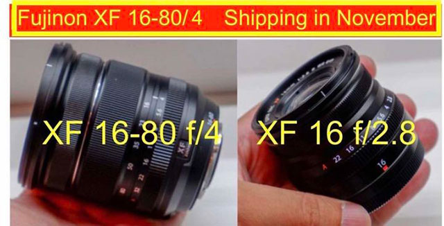 富士フイルムの「XF16-80mmF4 R OIS WR」と「XF16mmF2.8 R WR」は近日中にX-T3と共に発表される!?