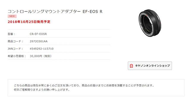 コントロールリングマウントアダプター EF-EOS R