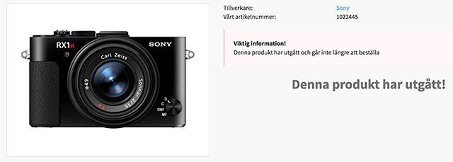 スウェーデンの販売店でソニーRX1R IIがディスコン扱いになっている模様