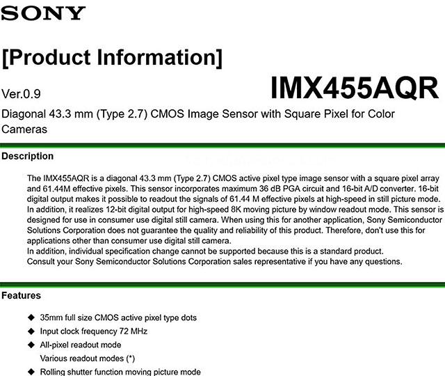 ソニーのもう一つの6000万画素8Kセンサー「IMX455」
