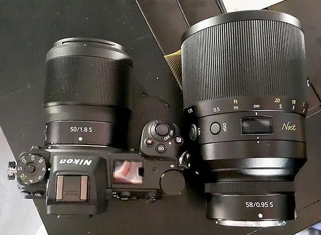 ニコン「NIKKOR Z 58mm f/0.95 S Noct」と「NIKKOR Z 50mm f/1.8 S」の比較画像。
