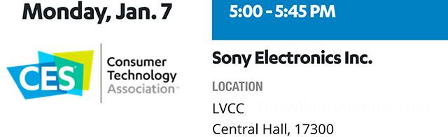 ソニーが2019年1月7日にCESで発表会を行う模様。Eマウント製品の発表は無い!?