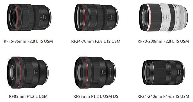 キヤノンのEOS R用フルサイズ対応レンズ「RF15-35mm F2.8 L IS USM」「RF24-70mm F2.8 L IS USM」「RF70-200mm F2.8 L IS USM」「RF85mm F1.2 L USM」「RF85mm F1.2 L USM DS」「RF24-240mm F4-6.3 IS USM」