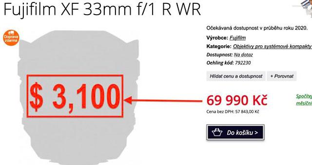 富士フイルム「XF33mmF1 R WR」は3,100ドル、「XF16-80mmF4 R OIS WR」は1,100ドルになる!?