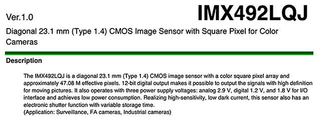 ソニーの4700万画素で8K30P対応のマイクロフォーサーズセンサー「IMX492LQJ」