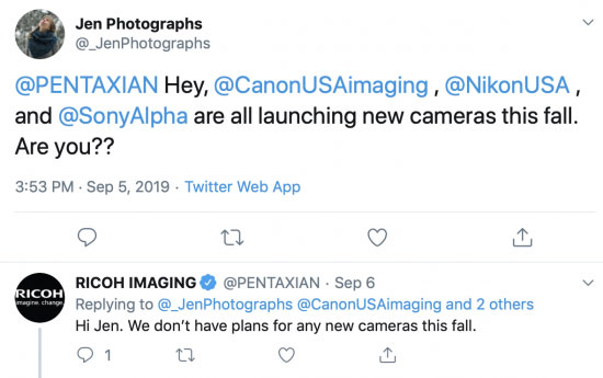 リコー/ペンタックスは、今秋に新しいカメラを発表する予定はない模様。