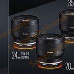 タムロンの三本のFE単焦点レンズ「20mm F/2.8 Di III OSD M1:2」「24mm F/2.8 Di III OSD M1:2」「35mm F/2.8 Di III OSD M1:2」は、10月23日発表で価格はどれも税込41,800円の模様。