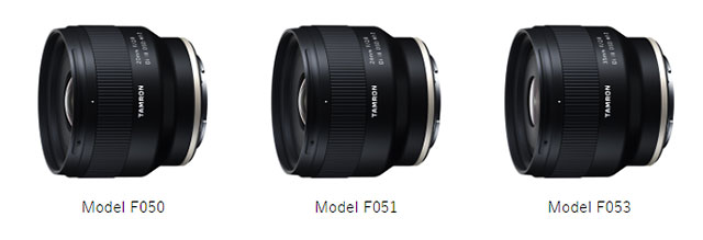 「20mm F/2.8 Di III OSD M1:2 (Model F050)」「24mm F/2.8 Di III OSD M1:2 (Model F051)」「35mm F/2.8 Di III OSD M1:2 (Model F053)」