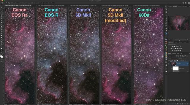 EOS RaとEOS Ra、EOS 60Da、6D Mark II、天体写真撮影用に改造した5D Mark IIの比較画像