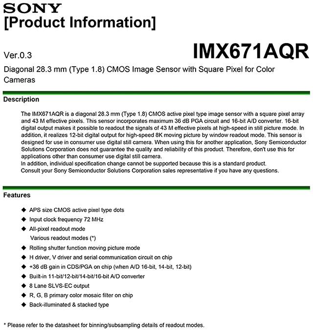 ソニーの4300万画素APS-Cセンサー「IMX671AQR」のスペックシート