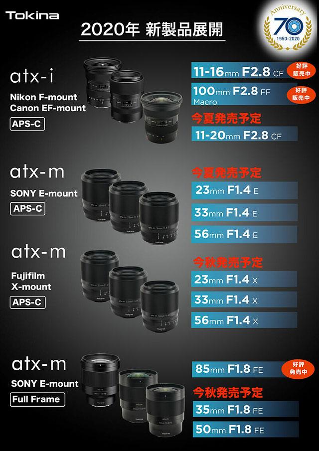 トキナーの新レンズ「11-20mm F2.8 CF」「23mm F1.4 E」「33mm F1.4 E」「56mm F1.4 E」「35mm F1.8 FE」「50mm F1.8 FE」