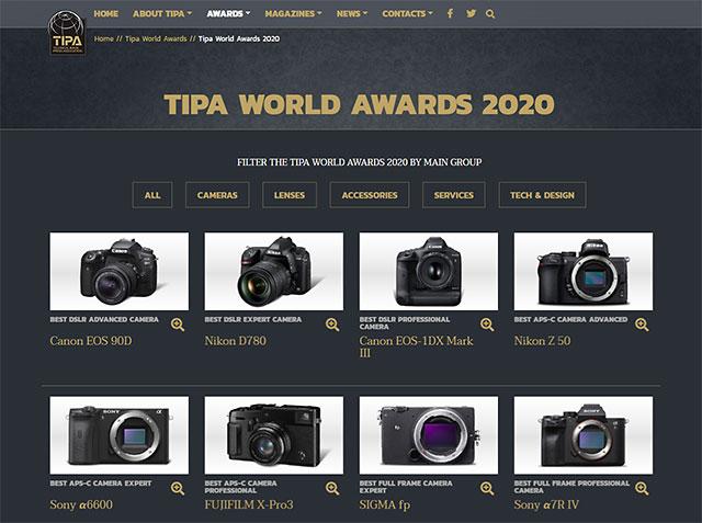 「TIPAアワード 2020」発表。EOS 90D、D780、EOS-1D X Mark III、Z 50、α6600、X-Pro3、SIGMA fp、α7R IV、DC-S1H、GFX100などが受賞