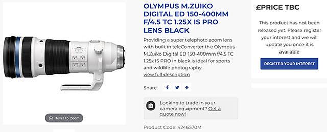 オリンパス「M.ZUIKO DIGITAL ED 150-400mm F4.5 TC1.25x IS PRO」が海外のオンラインストアにリストアップされている模様。