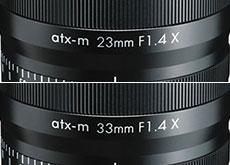 「atx-m 23mm F1.4 X」「atx-m 33mm F1.4 X」
