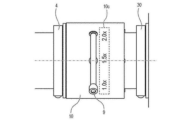 キヤノンの1.0倍-1.5倍-2.0倍で切り替え可能なテレコンバーターの特許
