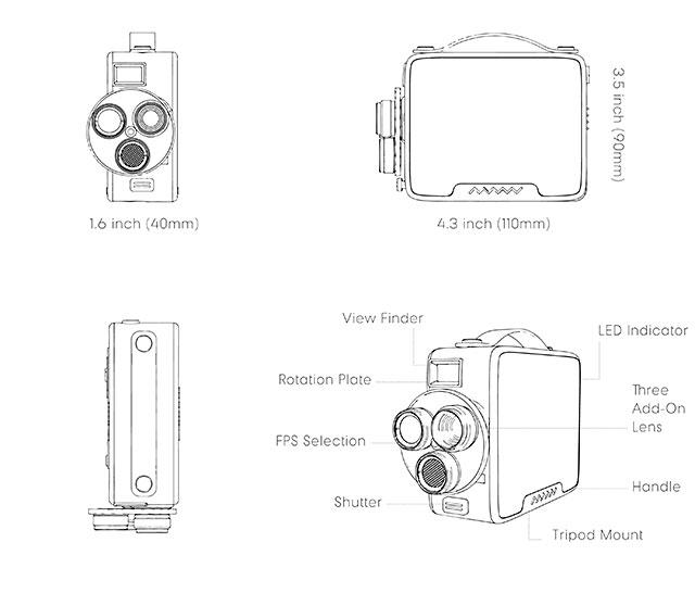 手持ち式スーパー8mmフィルムカメラ風トイカメラ「Fragment 8 Retro Camera」