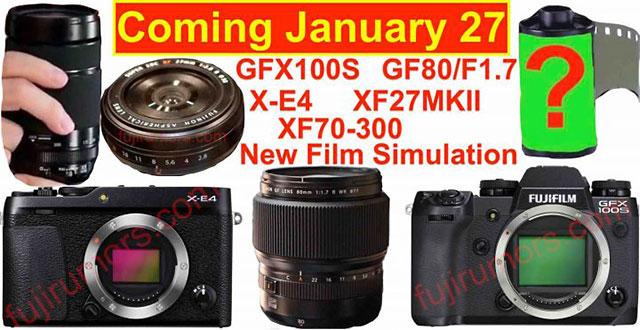 富士フイルムが1月27日に新製品発表を行うのはほぼ確定!?「GFX 100S」「X-E4」「GF80mmF1.7」「XF27mmF2.8 II」「XF70-300mmF4-5.6」が登場する!?