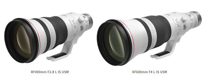キヤノンが「RF400mm F2.8 L IS USM」「RF600mm F4 L IS USM」を正式発表。