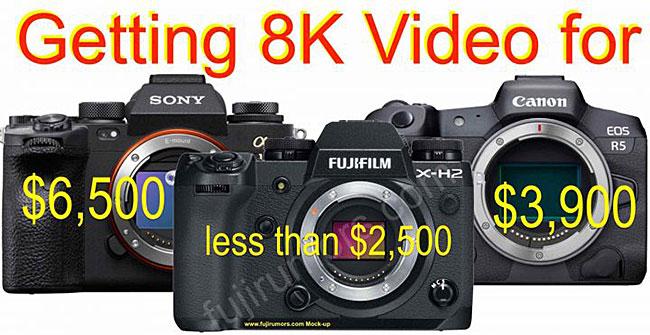 8K動画対応で2,500ドル以下になる富士フイルム「X-H2」は、他の8K対応カメラと比較してかなり安い!?