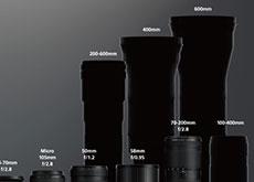 ニコンが未発表レンズのシルエットが入ったZレンズの集合画像を公開。「Z 24-105mm」「Z 85mm」「Z DX 18-140mm」「Z 200-600mm」「Z 400mm」「Z 600mm」7本のシルエット。