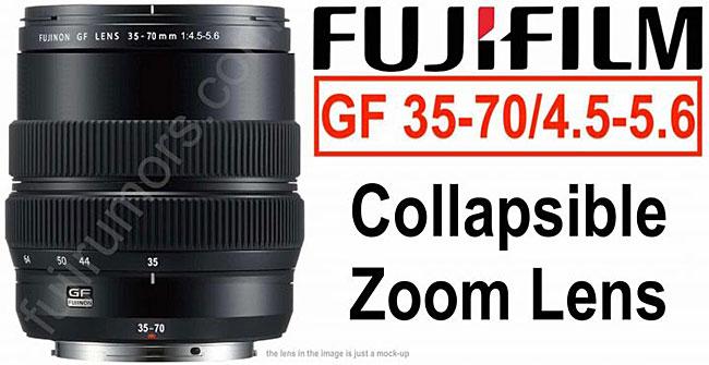 富士フイルムの新しいGFX用ズームレンズ「GF35-70mmF4.5-5.6」は、「XC15-45mmF3.5-5.6 OIS PZ」と同じような沈胴式レンズになる!?